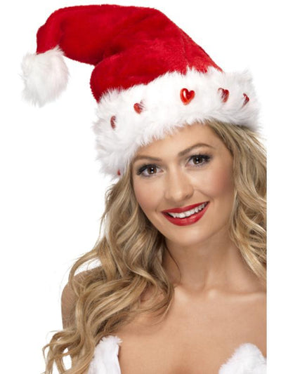 Light Up Santa Hat-Hats and Headwear-Jokers Costume Hire and Sales Mega Store