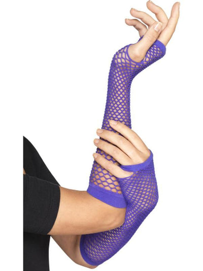 Long Purple Fishnet Gloves-Armwear-Jokers Costume Hire and Sales Mega Store