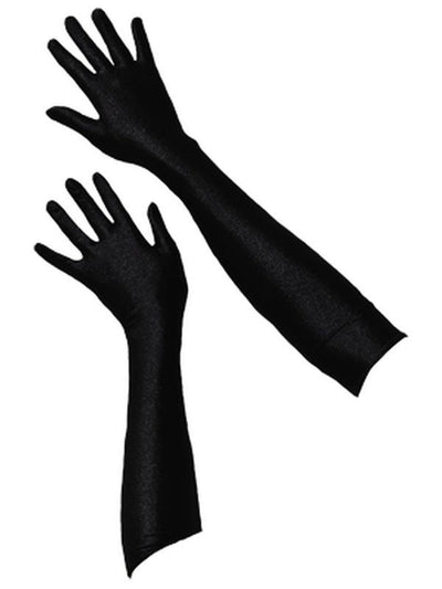 Long Satin Gloves - Black-Jokers Costume Mega Store
