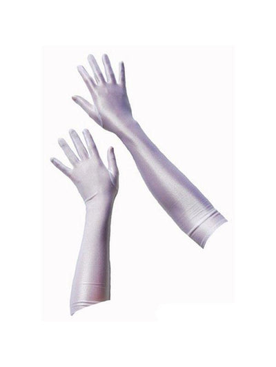 Long Satin Gloves - White-Jokers Costume Mega Store