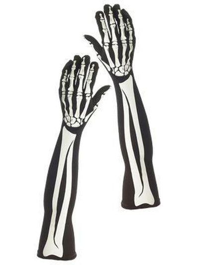 Long Skeleton Gloves - Adult-Jokers Costume Mega Store