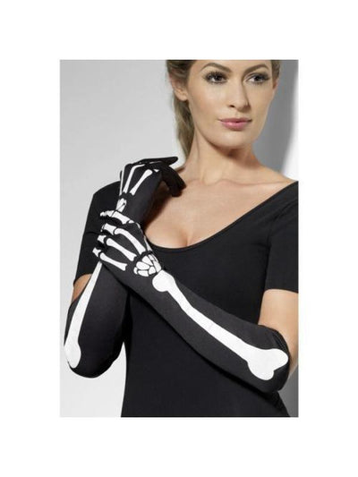 Long Skeleton Gloves-Armwear-Jokers Costume Hire and Sales Mega Store