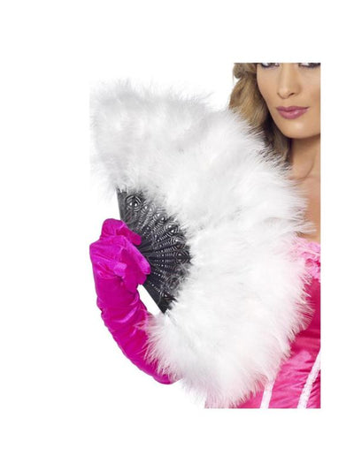 Marabou Fan, White-Costume Accessories-Jokers Costume Mega Store