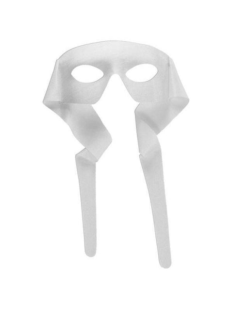 Masked Man w/Ties - White-Masks - Masquerade-Jokers Costume Hire and Sales Mega Store