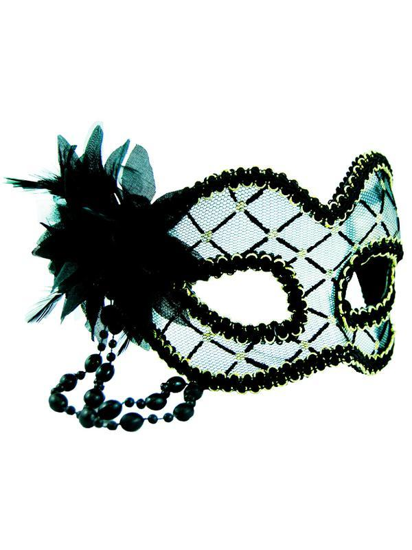 Masquerade Mask - Black & Clear w/Flowe-Jokers Costume Mega Store