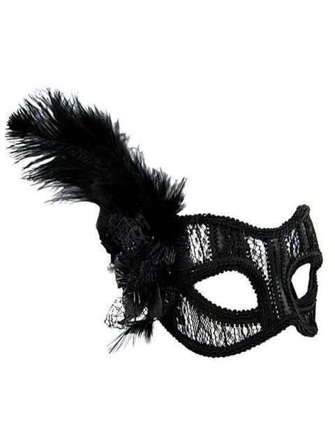 Masquerade Mask - Black Lace w/Feather-Jokers Costume Mega Store