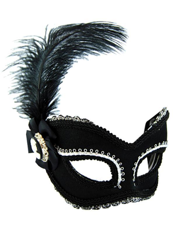 Masquerade Mask - Black & Silver w/Feat-Masks - Feather-Jokers Costume Hire and Sales Mega Store