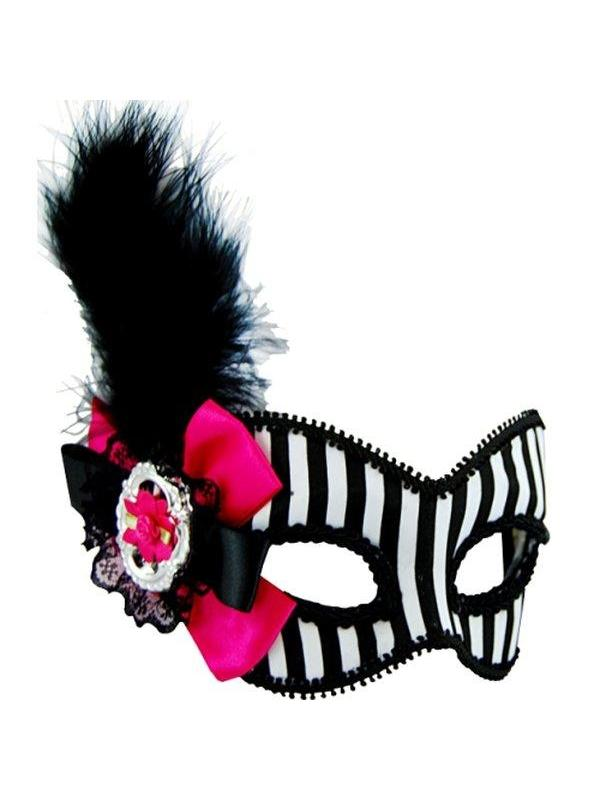 Masquerade Mask - Black & White w/Feath-Masks - Feather-Jokers Costume Hire and Sales Mega Store