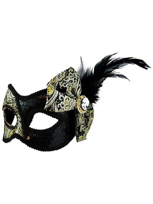 Masquerade Mask - Black w/Side Bow-Masks - Feather-Jokers Costume Hire and Sales Mega Store