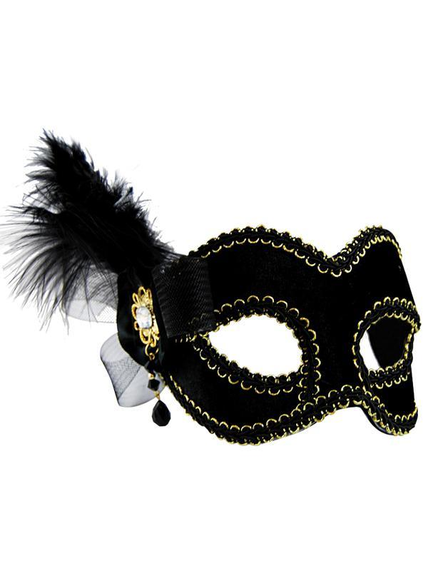 Masquerade Mask - Black w/Side Feather-Jokers Costume Mega Store