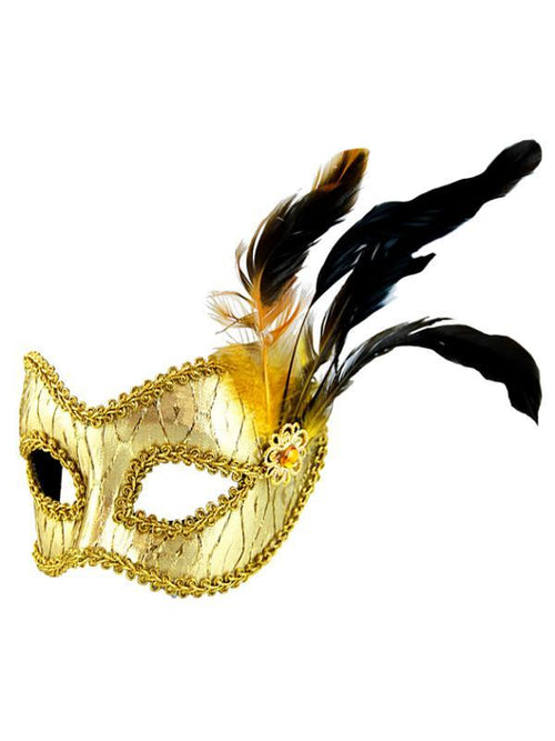 Masquerade Mask - Gold w/Side Feathers-Masks - Feather-Jokers Costume Hire and Sales Mega Store