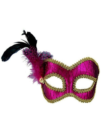Masquerade Mask - Pink/Gold w/Feathers - Jokers Costume Mega Store