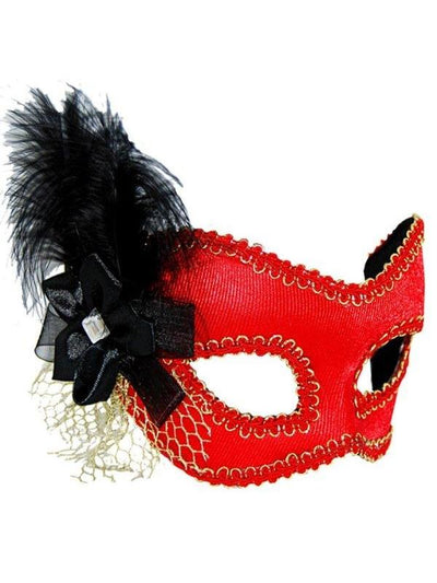 Masquerade Mask - Red w/Black Feather-Masks - Feather-Jokers Costume Hire and Sales Mega Store