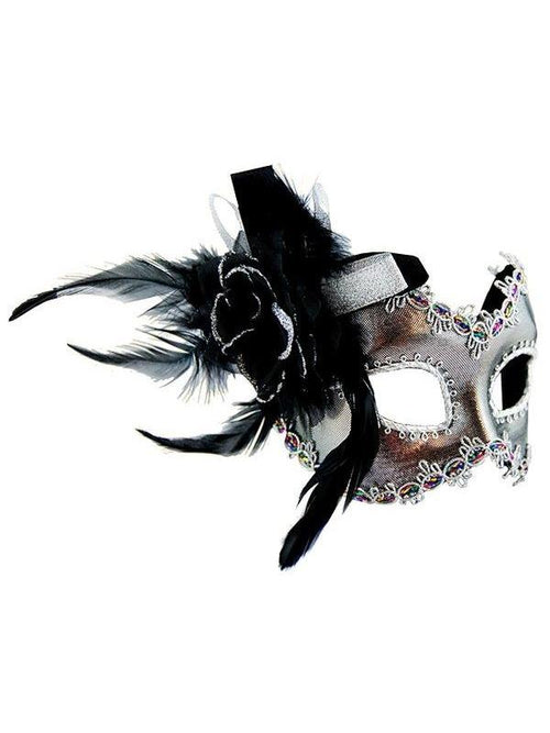 Masquerade Mask - Silver w/Side Feather-Masks - Feather-Jokers Costume Hire and Sales Mega Store