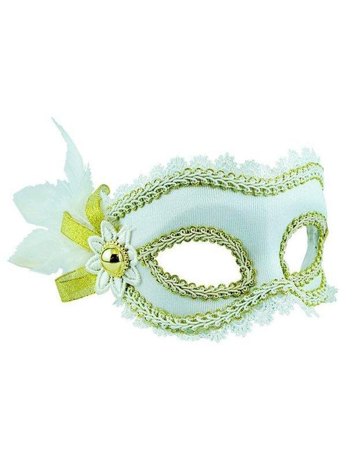 Masquerade Mask - White w/Side Feathers-Masks - Feather-Jokers Costume Hire and Sales Mega Store
