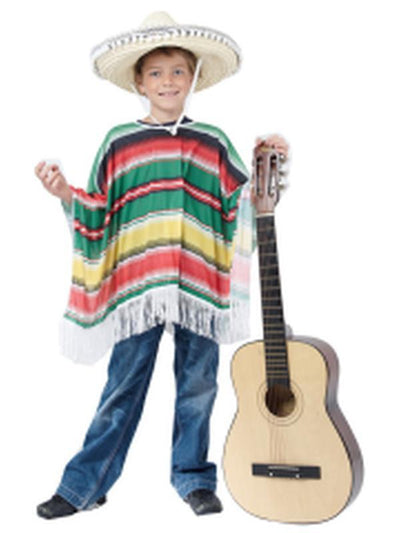 Mexican Poncho - Green/Red/Yell - Child-Costumes - Boys-Jokers Costume Hire and Sales Mega Store