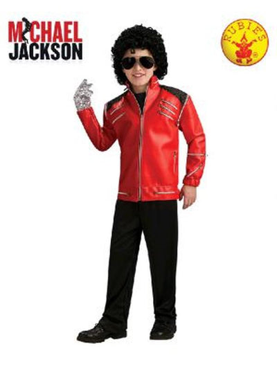 MICHAEL JACKSON DELUXE BEAT IT RED JACKET,CHILD - SIZE MEDIUM-Costumes - Boys-Jokers Costume Hire and Sales Mega Store