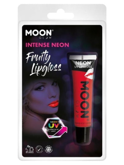 Moon Glow Intense Neon UV Fruity Lipgloss, Red-Make up and Special FX-Jokers Costume Mega Store