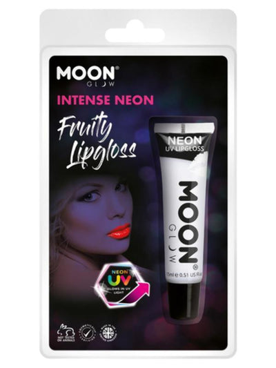 Moon Glow Intense Neon UV Fruity Lipgloss, White-Make up and Special FX-Jokers Costume Mega Store