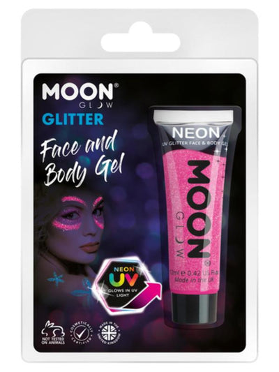 Moon Glow Neon UV Fine Glitter Gel, Hot Pink-Make up and Special FX-Jokers Costume Mega Store
