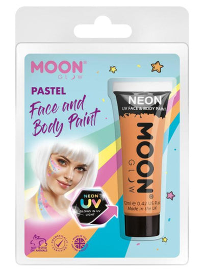 Moon Glow Pastel Neon UV Face Paint, Orange-Make up and Special FX-Jokers Costume Mega Store