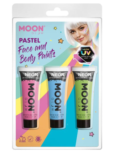 Moon Glow Pastel Neon UV Face Paint, Pink, Blue, Green-Make up and Special FX-Jokers Costume Mega Store