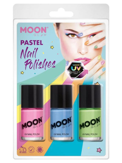 Moon Glow Pastel Neon UV Nail Polish, Pink, Blue, Green-Make up and Special FX-Jokers Costume Mega Store