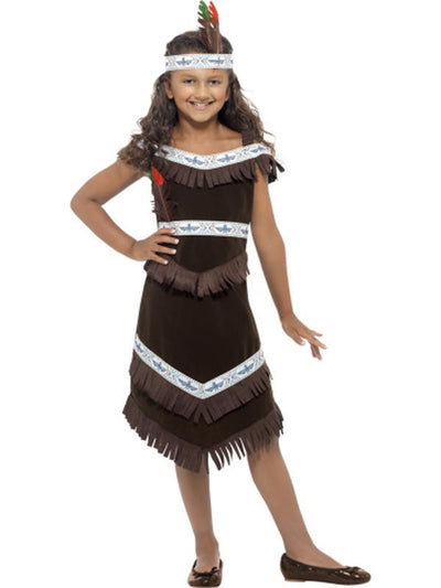 Native American Inspired Girl Costume - Fringed Dress-Jokers Costume Mega Store