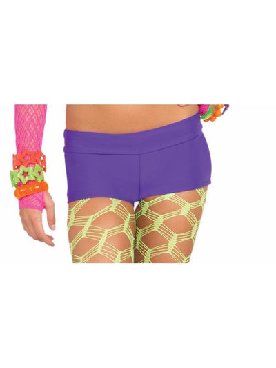 Neon Solid Booty Shorts - Purple-Costumes - Women-Jokers Costume Hire and Sales Mega Store