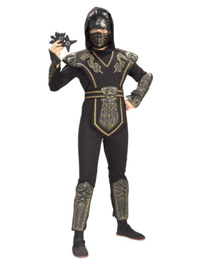 Ninja Gold Dragon Warrior - Size L-Costumes - Boys-Jokers Costume Hire and Sales Mega Store