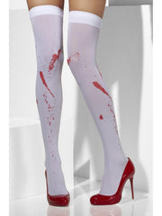 Opaque Hold-Ups - White, Blood Stain Print-Leg Wear-Jokers Costume Hire and Sales Mega Store