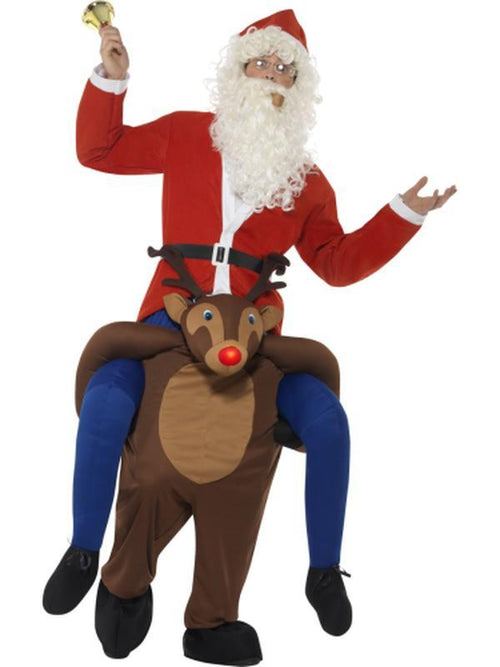Piggyback Reindeer Rudolf Costume-Costumes - Mens-Jokers Costume Hire and Sales Mega Store