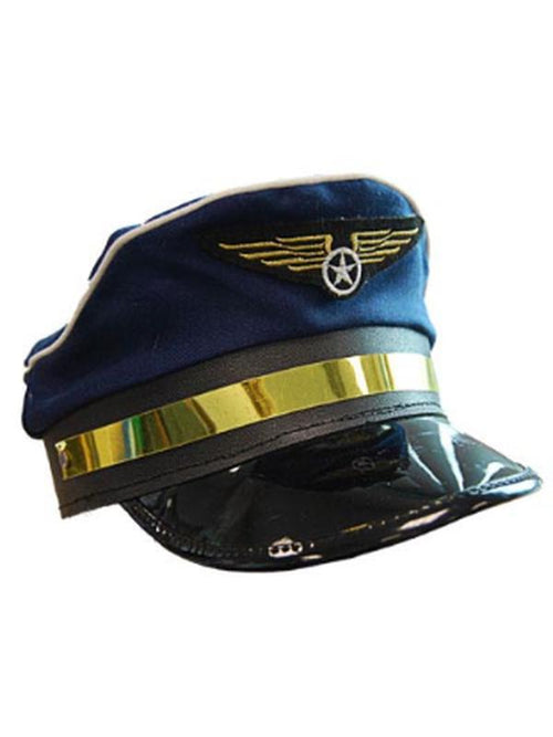 Pilot Hat - Blue w/Wings-Hats and Headwear-Jokers Costume Hire and Sales Mega Store