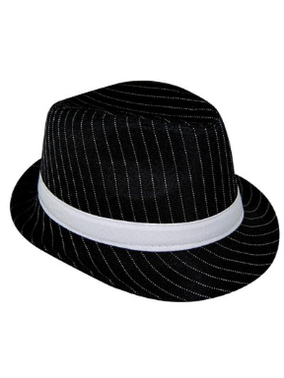 Pinstripe Gangster Hat - Black-Hats and Headwear-Jokers Costume Hire and Sales Mega Store