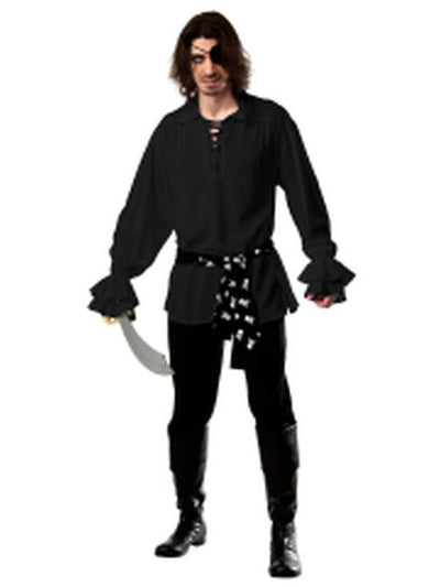 Pirate Cotton Shirt Black - Size Std-Costumes - Mens-Jokers Costume Hire and Sales Mega Store
