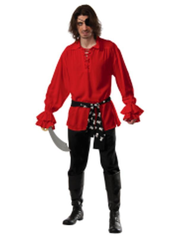 Pirate Cotton Shirt Red - Size Std-Costumes - Mens-Jokers Costume Hire and Sales Mega Store