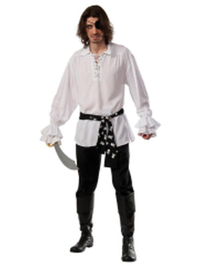 Pirate Cotton Shirt White - Size Std-Costumes - Mens-Jokers Costume Hire and Sales Mega Store