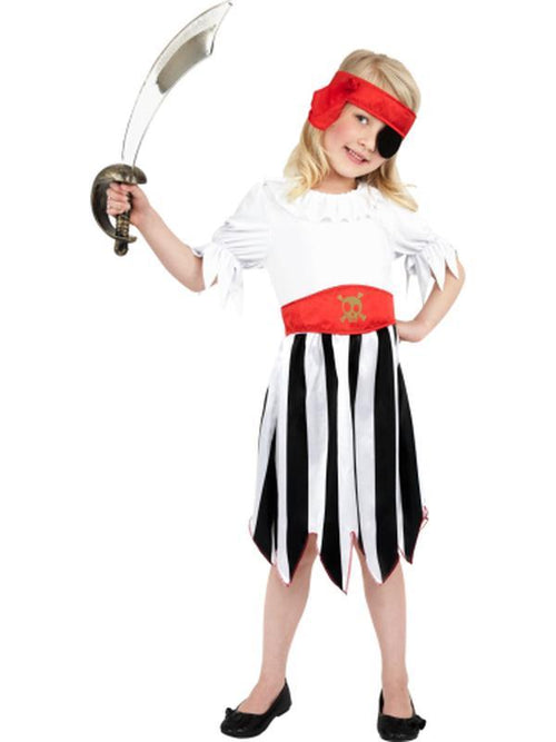 Pirate Girl Costume, Black & White-Costumes - Girls-Jokers Costume Hire and Sales Mega Store