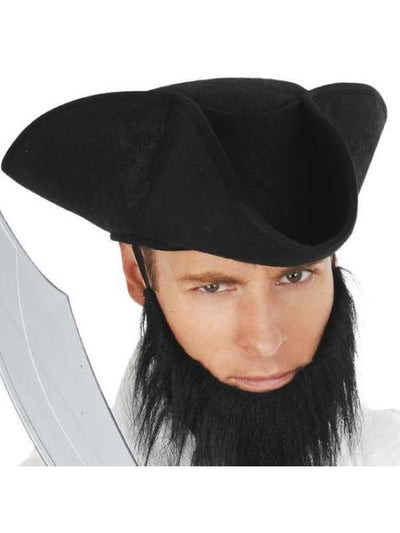 Pirate Hat Soft Mottled Black-Hats and Headwear-Jokers Costume Mega Store