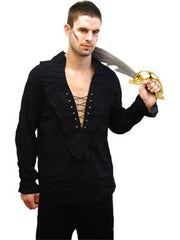 Pirate Shirt - Black-Costumes - Mens-Jokers Costume Hire and Sales Mega Store