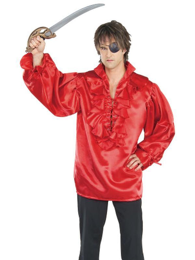 Pirate Shirt Red Satin Adult - Size Std-Costumes - Mens-Jokers Costume Hire and Sales Mega Store