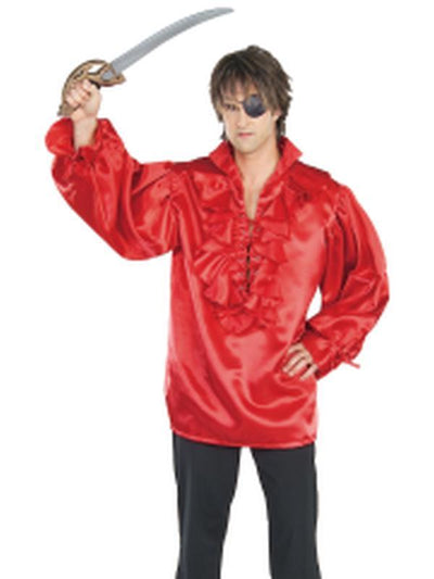 Pirate Shirt Red Satin Adult - Size Xl-Costumes - Mens-Jokers Costume Hire and Sales Mega Store