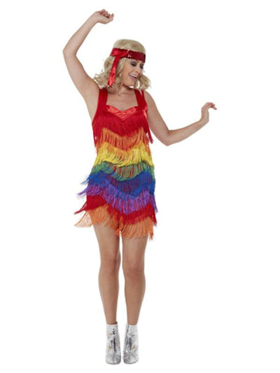 Rainbow Pride 20s Flapper Dress, Multicoloured-Costumes - Women-Jokers Costume Mega Store