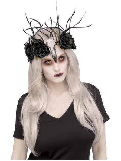 Raven Mistress Headband - Black Floral-Hats and Headwear-Jokers Costume Hire and Sales Mega Store
