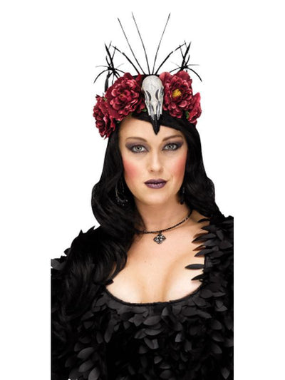 Raven Mistress Headband - Red Floral-Hats and Headwear-Jokers Costume Hire and Sales Mega Store