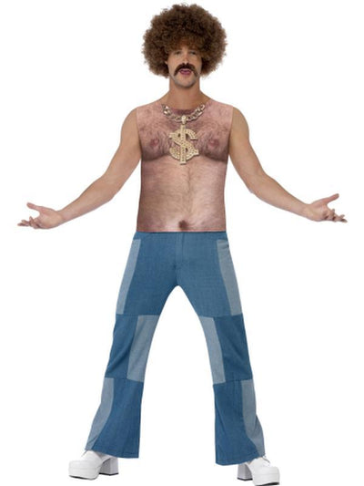 Realistic 70s Hairy Chest, Sleeveless Top-Jokers Costume Mega Store