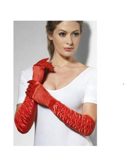Red Long Temptress Gloves-Armwear-Jokers Costume Mega Store