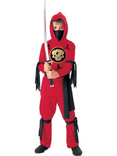 Red Ninja - Size M.-Costumes - Boys-Jokers Costume Hire and Sales Mega Store