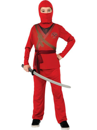 Red Ninja - Size M-Costumes - Boys-Jokers Costume Hire and Sales Mega Store