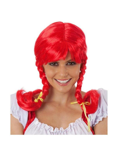 Red Pig Tails Wig with Braids (Pippi)-Wigs-Jokers Costume Mega Store